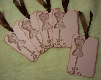 Scrapbook Tags...5 Piece Set of Very Elegant and Stylish Vintage Inspired Scrapbooking Tags