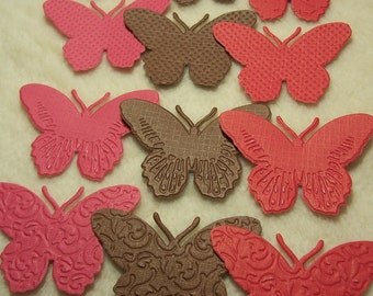 Paper Butterflies...12 Piece Set of Very Beautiful Brown/Red Embossed Paper Butterfly Scrapbook Embellishments
