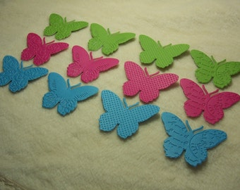 12 Piece Set of Pretty Brights Embossed Paper Butterfly Die Cut Scrapbook Embellishments