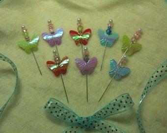 Scrapbook Pins...8 Piece Set of Very Pretty Butterfly Pins Scrapbook Embellishments