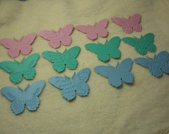 12 Piece Set of Lovely Pastel Embossed Paper Butterfly Die Cut Scrapbook Embellishments