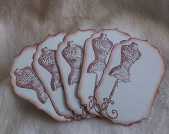 Scrapbook Tags...5 Piece Set of Very Stylish Dress Form Vintage Inspired Scrapbooking Tags