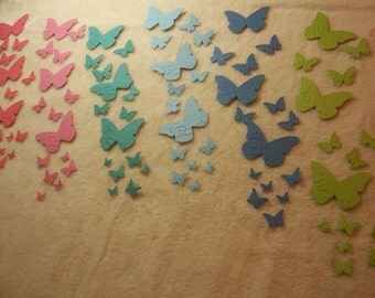 Paper Butterflies...90 Piece Set of Very Beautiful Wings Butterfly Migration Embossed Scrapbook Embellishments