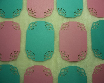 Scrapbook Labels...12 Piece Set of Very Cute Swirling Lace Corner Label Scrapbook Embellishments