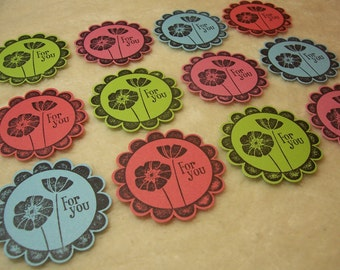 For You Tags...12 Piece Set of Very Adorable For You Floral Round Scallop Tags
