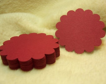 Round Scallop Tags...24 Piece Set of Elegant Burgundy Round Scallop Scrapbook Tags