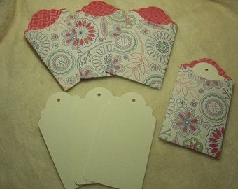 Tag Pockets...8 Piece Set of Very Pretty Summer Blooms Scrapbooking Tags and Tag Pockets