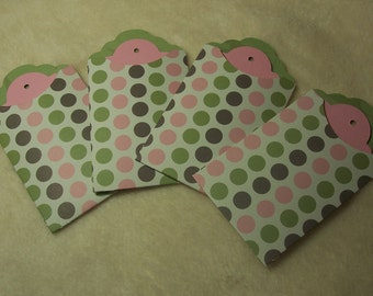Tag Pockets...8 Piece Set of Very Pretty Polka Dotted Scrapbooking Tags and Pocket Tags