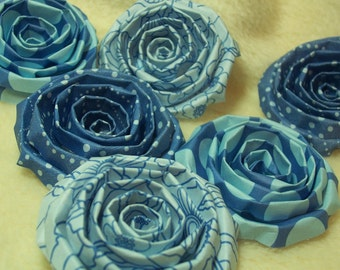 Scrapbook Flowers...6 Piece Set of Very Gorgeous True Blue Scrapbook Paper Flower Rolled Roses