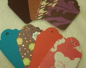 24 Piece Set of Very Lovely Autumn Collection Scallop Scrapbook Hang Tags