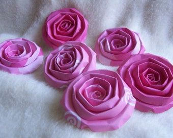 Scrapbook Flowers...6 Piece Set of Very Lovely Pink Parade Scrapbook Paper Flower Rolled Roses