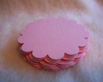 Round Scallop Tags...24 Piece Set of Very Sweet Blush Pink Round Scallop Scrapbook Tags