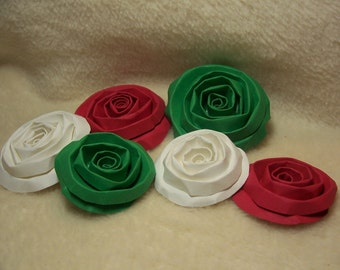 Scrapbook Flowers...6 Piece Set of Very Merry and Bright Christmas Scrapbook Paper Flower Rolled Roses