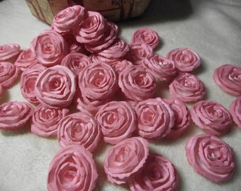 Handmade Wedding Paper Flowers...200 Piece Set of Very Pretty Shabby Chic Made to Order Scrapbook Paper Flower Rolled Roses