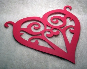 Scrolled Heart Die Cut...2 Piece Set of Very Romantic Scrolled Paper Heart Scrapbooking Die Cut Embellishments