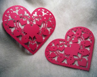 Heart Paper Lace...2 Piece Set of Very Beautiful Heart Paper Laces Scrapbooking Die Cut Embellishments