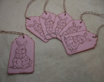 Easter Bunny Tags...6 Piece Set of So Adorable Easter Bunny Vintage Inspired Scrapbooking Hang Tags Gift or Favor Tags