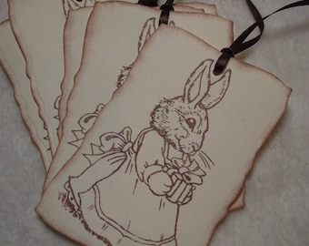 Scrapbooking Tags...6 Piece Set of Very Sweet Easter Bunny Bearing Gift Vintage Inspired Scrapbooking Tags Gift and Favor Tags