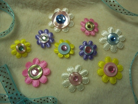 10 Piece Set of Very Adorable Flowers and Buttons Scrapbook Embellishments