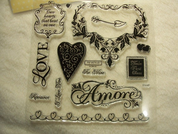 Clear Stamp Set...13 Piece Very Romantic Amore Clear Stamp Set