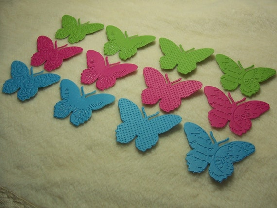 Paper Butterflies...12 Piece Set of Very Pretty Brights Embossed Paper Butterfly Scrapbook Embellishments