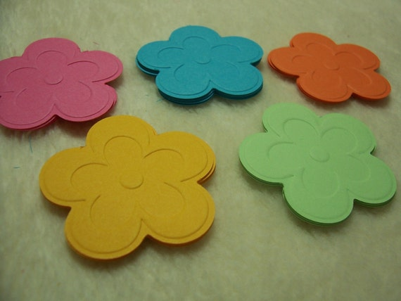 20 Piece Set of Very Pretty Tropical Delight Cherry Blossom Embossed Scrapbook Paper Flower Embellishments