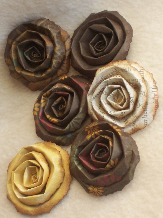 6 Piece Set of Very Shabby Chic Scrapbook Rolled Paper Flower Roses