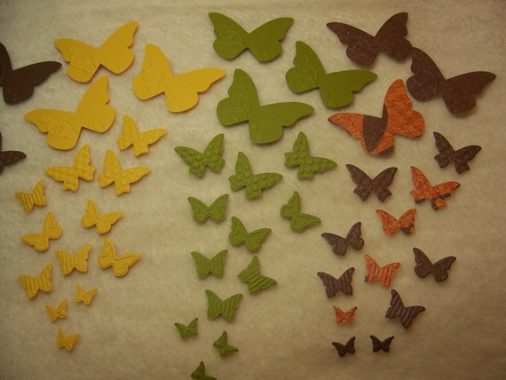 90 Piece Set of Very Beautiful Wings Paper Butterfly Migration Embossed Scrapbook Embellishments