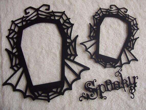 3 Piece Set of Very Elegant and Spooky Cobweb Scrapbook Frames and Sentiment Scrapbook Embellishment