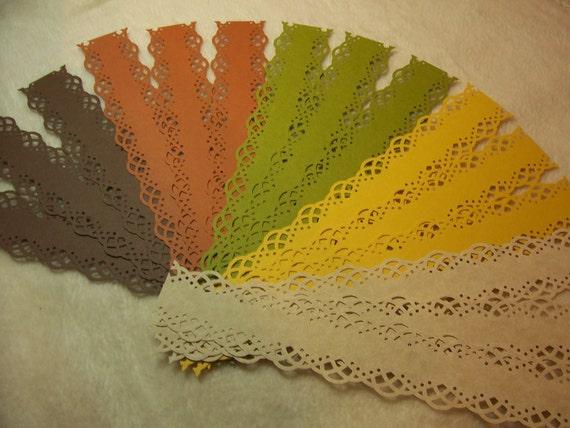 15 Piece Set of Very Elegant Autumn Splendor Swirling Lace Scrapbook Border Embellishments