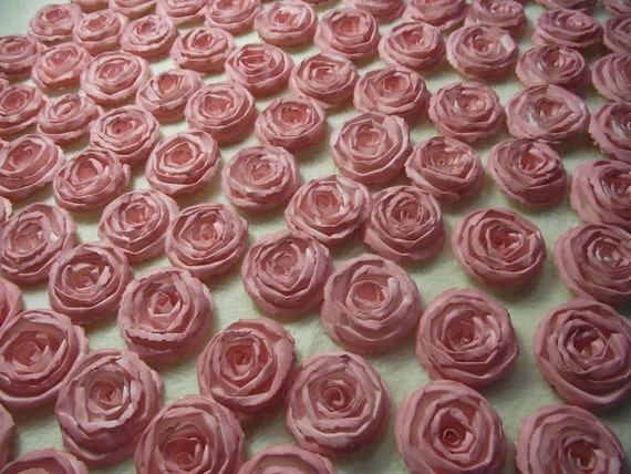 Handmade Paper Flowers...200 Piece Set of Very Pretty Shabby Chic Made to Order Scrapbook Paper Flower Rolled Roses