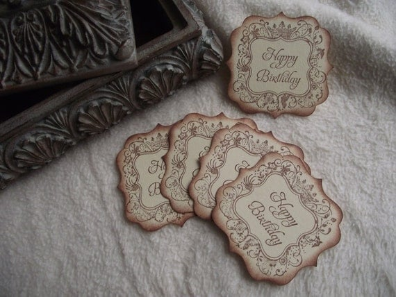 Scrapbook Tags...5 Piece Set of Very Elegant Birthday Vintage Inspired Scrapbooking Tags/Card Sentiments