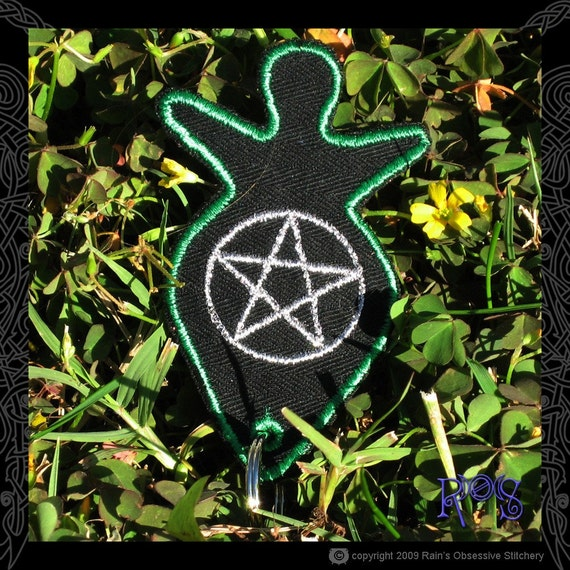 Green Goddess Keychain with Silver Pentacle