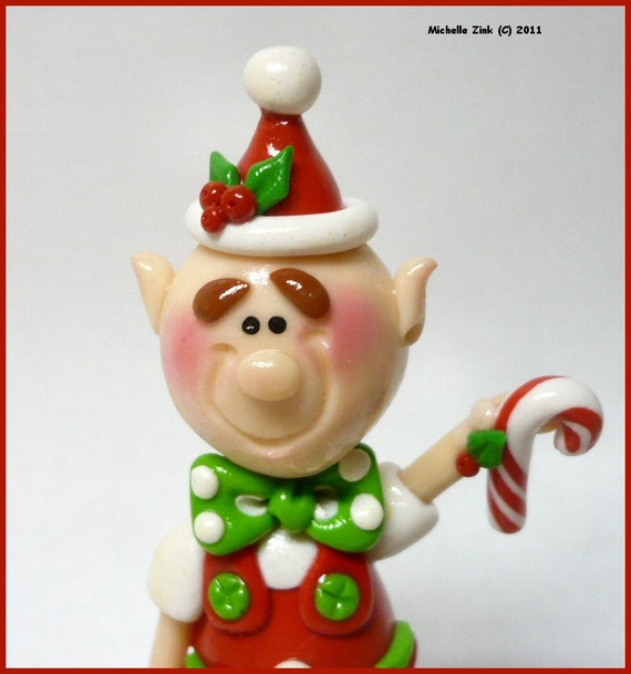 NEW Handmade Scuplted Polymer Clay Elf Figure or Cake Topper