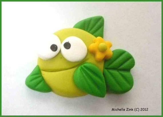 New Polymer Clay Bow Center Embellishment Green Fish