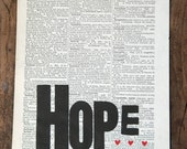SALE: HOPE letterpress print on dictionary page