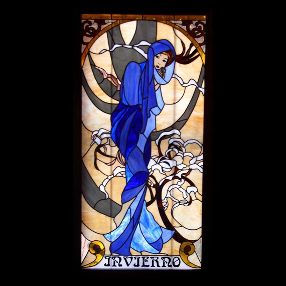 items similar to glass by olimpia alphonse mucha stained