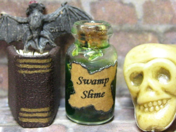 Halloween dollhouse miniature potion ingredient bottle for your Witch or Wizard scene swamp slime