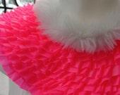 Cha Cha Punk portrait collar . quirky 80s pop industrial harajuku hot pink neon winter faux fur fantasy anime ruffled bib statement ooak