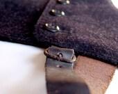 vintage charcoal black wool spats leather trim size 10