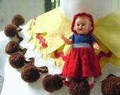 Red Riding Hood storybook pom pom capelet yellow bib neckpiece