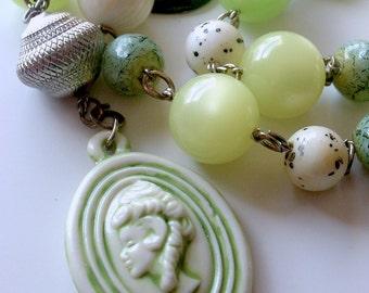 Lulu cameo neckpiece . pop art 60s mod baroque regal punk juicy green mint lime aqua big bold funky gobstopper assemblage statement . ooak