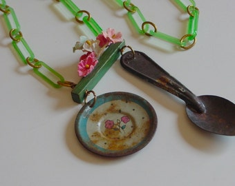 Storybook assemblage necklace . Hey Diddle dollhouse nursery rhyme innocence . shabby doll whimsical rustic repurposed vintage litho ooak