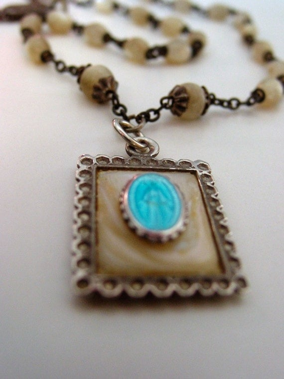 Temple miraculous medal assemblage . antique mother of pearl . sterling French enamel pendant  ooak