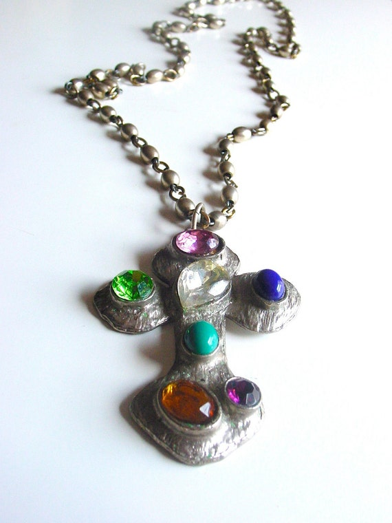 Cathedral vintage 70s big gothic cross necklace . long steely chunky rugged jeweled heavy metal statement