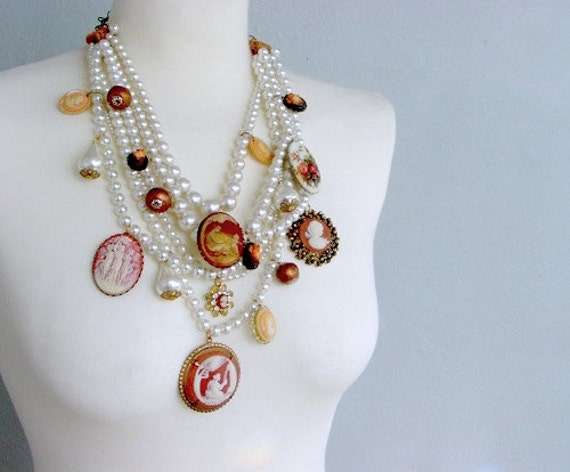 Cordelia cameo statement necklace . neo Victorian belle epoque baroque pearl cluster assemblage ooak Mother's Day gift