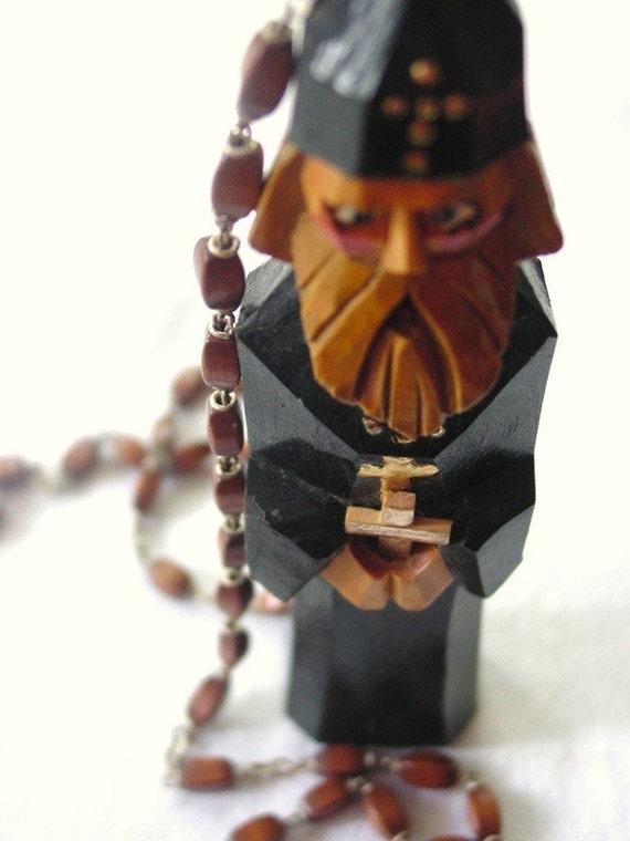 Iconostasis II statuary art necklace. vintage Russian icon gothic monk rosary long neckpiece assemblage . ooak holiday gift