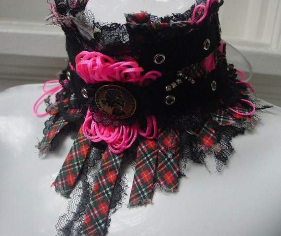 God Save The Queen statement neckpiece . Brit punk tartan UK cameo . hot pink neon . black lace rhinestone salvage ooak