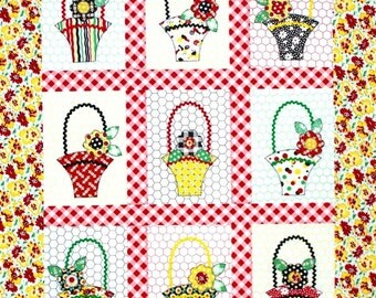 Baskets and Blooms Quilt Pattern - Sweet Little Wallhanging - PDF Format
