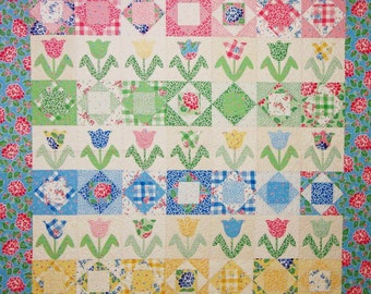 Tulip Garden Quilt Pattern - A Touch of Springtime - PDF Format